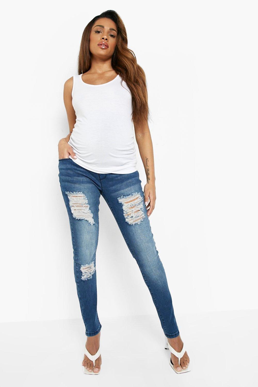 barriga de por Azul rasgados encima premamá skinny Jeans xOFqAA