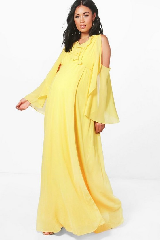 Maternity Wrap Maxi Dress With Ruffle Cold Shoulder