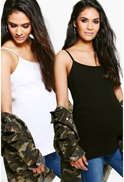 Womens Multi Maternity  2 Pack Ribbed Cami Vest Top