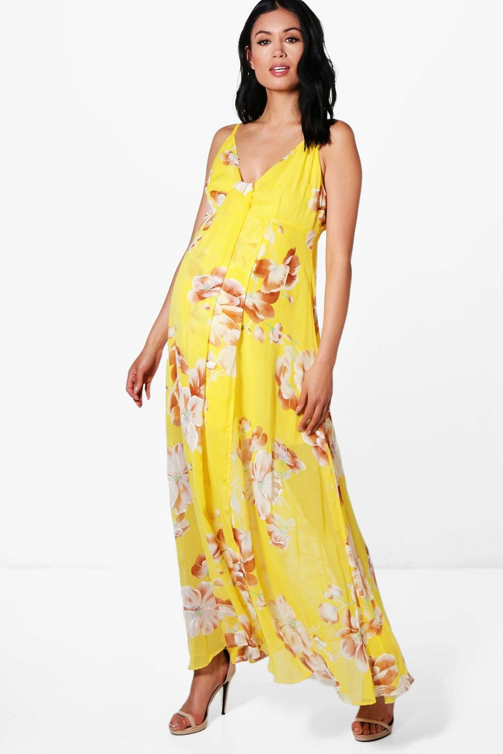 cc71e0e129d8 Maternity Wedding Floral Printed Maxi Dress | Boohoo