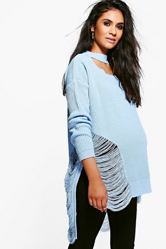 Maternity Lexi Distressed Choker Jumper