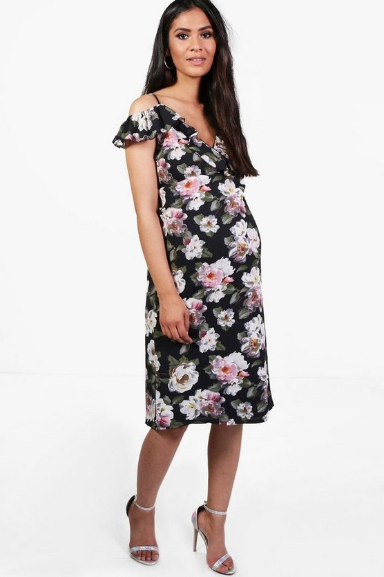 Maternity Floral Print Open Shoulder Midi Dress