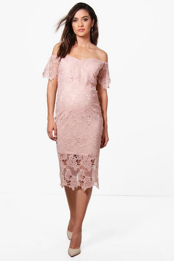 Maternity Corded Lace Cold Shoulder Dress