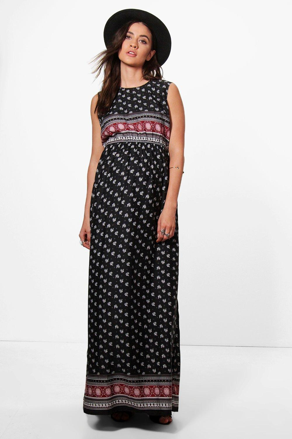 Vintage Style Maternity Clothes Maternity  Boho Printed Maxi Dress  AT vintagedancer.com