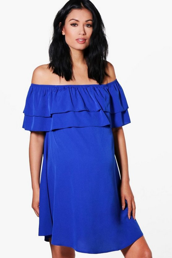 Blue Maternity Off The Shoulder Ruffle Dress