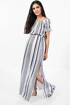 Maternity  Off The Shoulder Stripe Maxi Dress