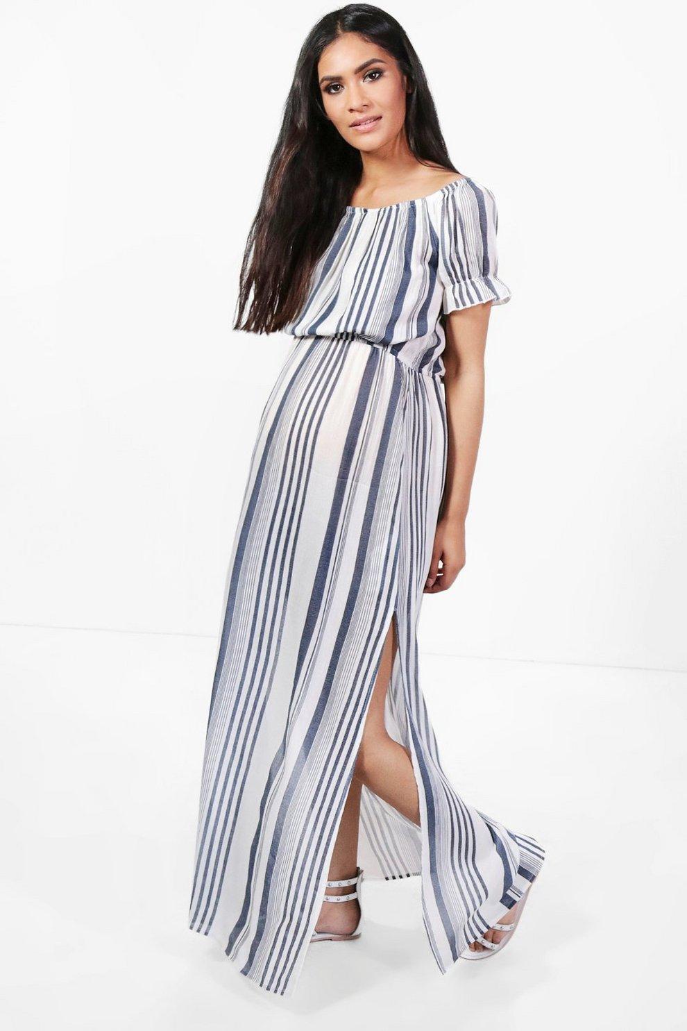 Maternity Off The Shoulder Stripe Maxi Dress | Boohoo