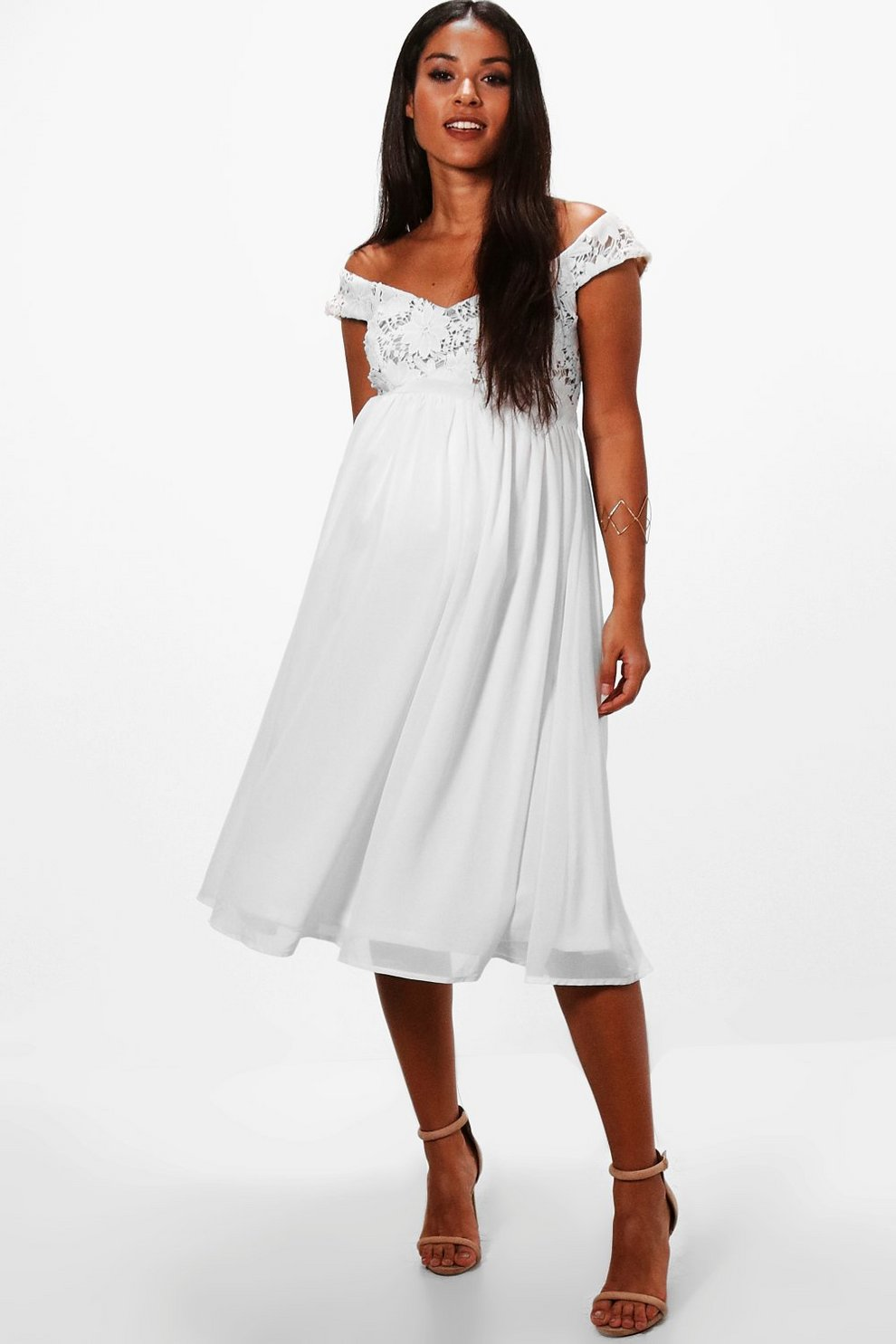 ec385375f669 Maternity Lace Off The Shoulder Chiffon Midi Dress | Boohoo