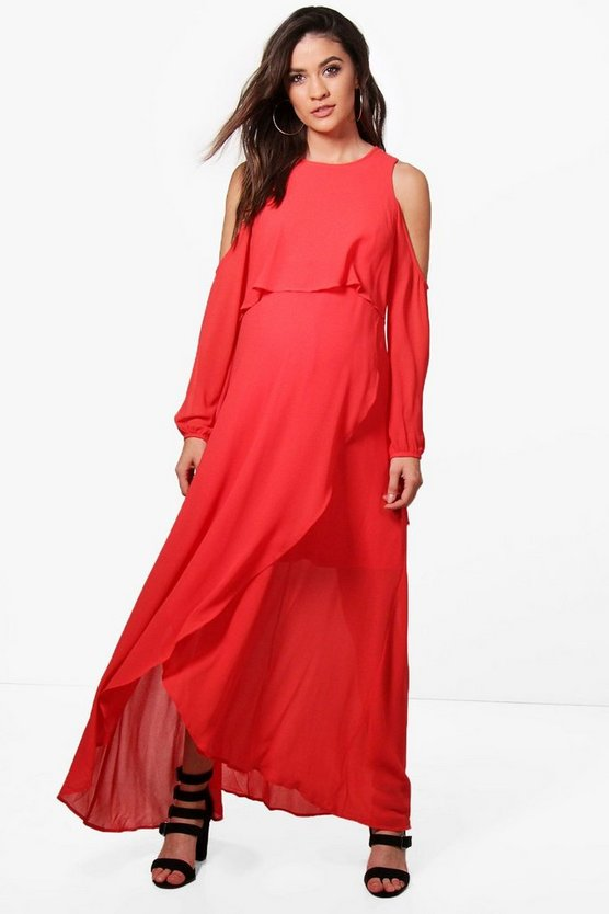 Maternity Chiffon Cold Shoulder Detail Layer Maxi