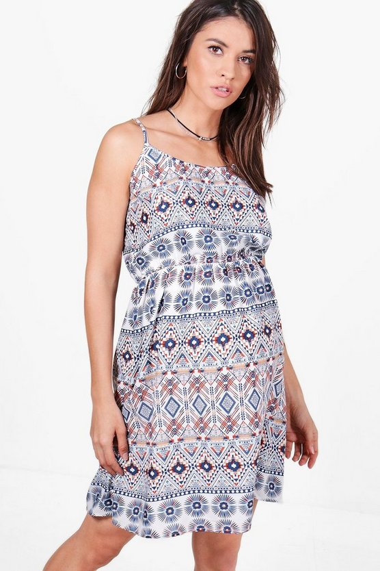 Maternity Aztec Printed Strappy Sundress