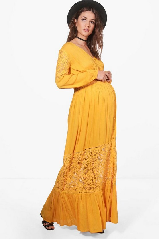 Maternity Sophia Boho Lace Insert Maxi Dress