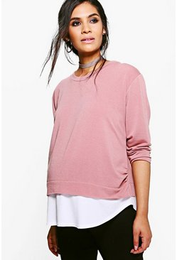 Womens Blush Maternity 2 in 1 Raw Edge Top