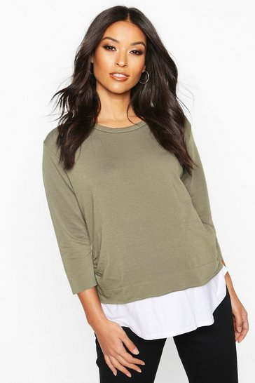 Womens Khaki Maternity 2 in 1 Raw Edge Top