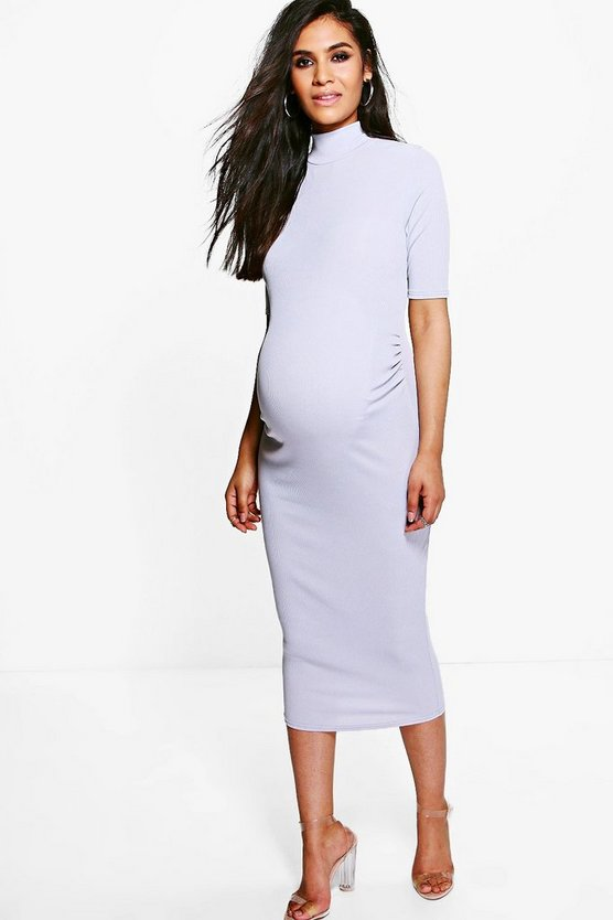 Womens Grey Maternity  High Neck Rib Midi Dress