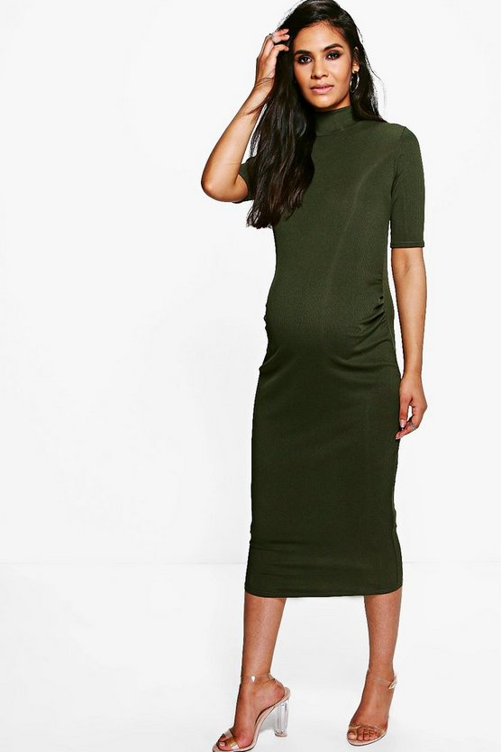 Womens Khaki Maternity  High Neck Rib Midi Dress