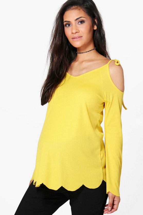 Maternity Nora Open Shoulder Ribbed Swing Top