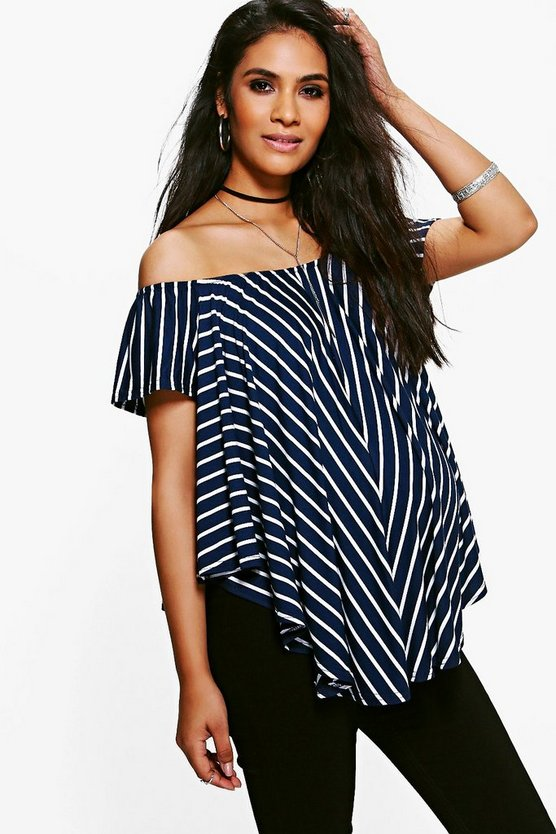 Multi Maternity Off The Shoulder Stripe Top