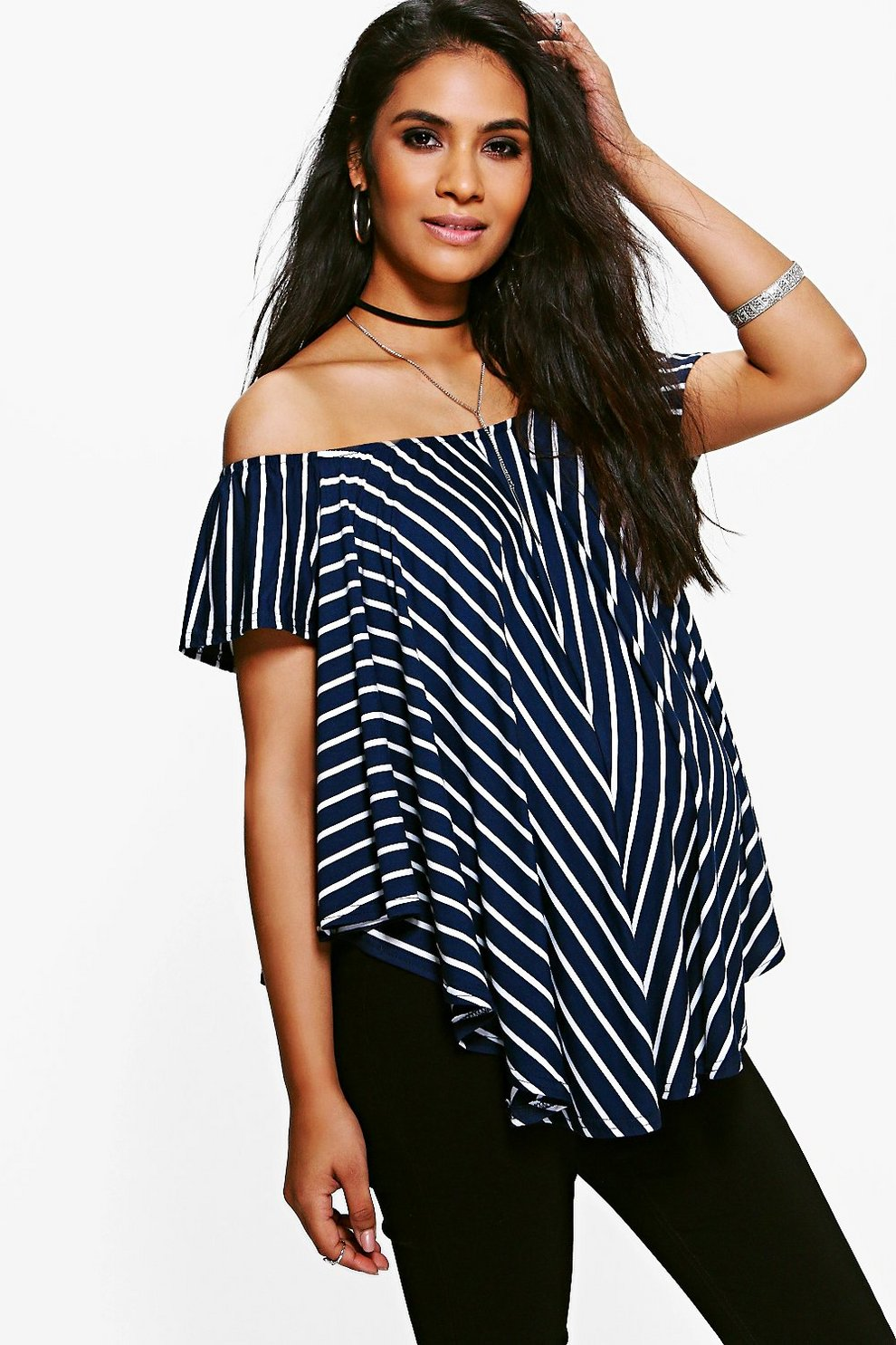 8460a213127 Maternity Off The Shoulder Stripe Top | Boohoo