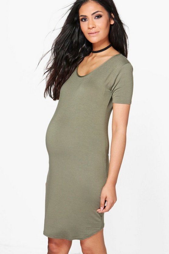 Womens Khaki Maternity Short Sleeve Bodycon Dress