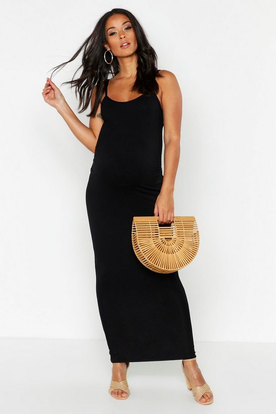 Womens Black Maternity Lacey Strappy Maxi Bodycon Dress