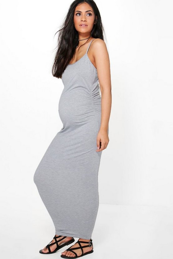 Womens Grey marl Maternity Lacey Strappy Maxi Bodycon Dress