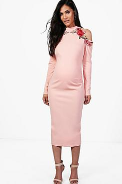 Vintage Style Maternity Clothes Maternity  Applique Open Shoulder Midi Dress $42.00 AT vintagedancer.com