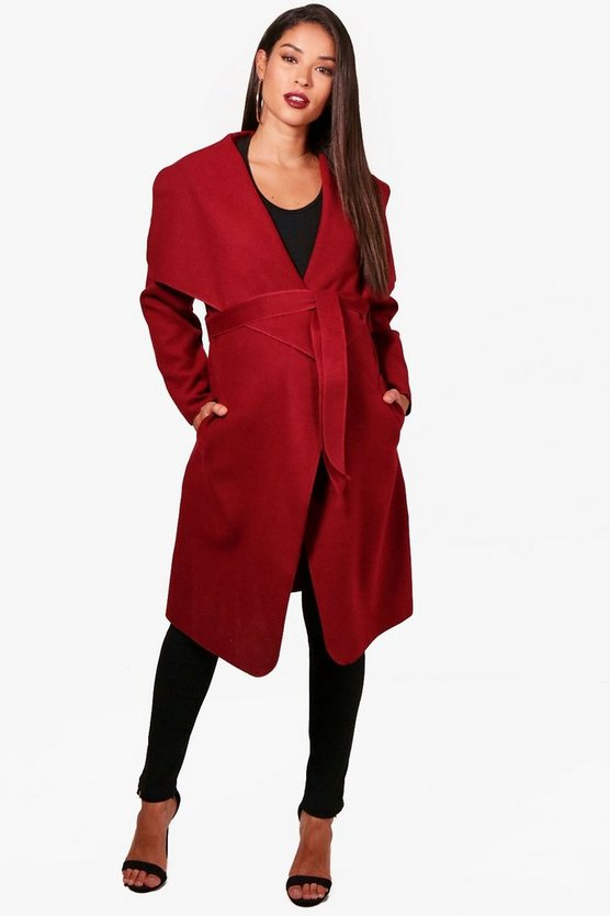Maternity Bella Belted Shawl Collar Coat