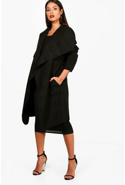 Womens Black Maternity  Belted Shawl Collar Coat
