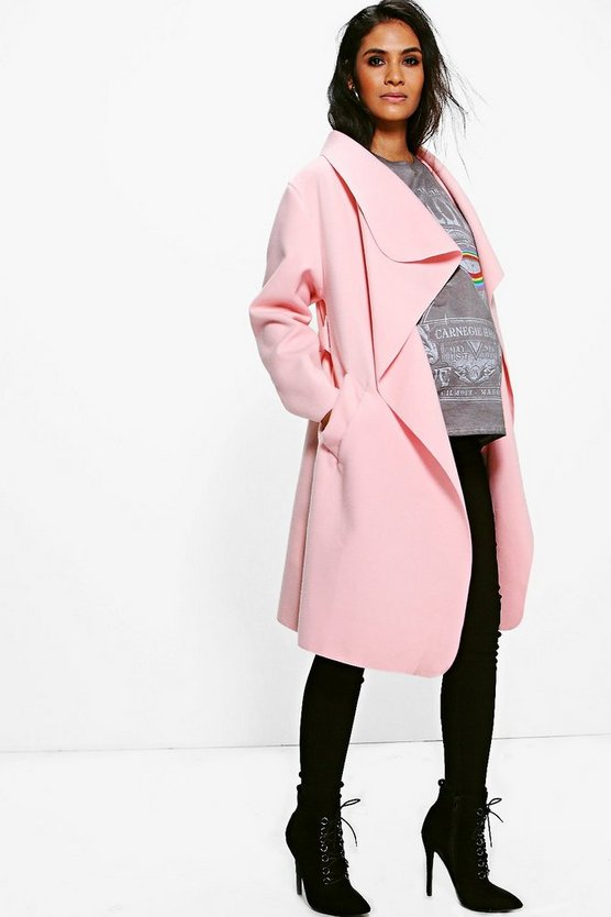 Womens Rose Maternity  Belted Shawl Collar Coat
