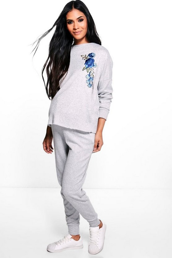 Maternity Floral Applique Sweat & Jogger Set