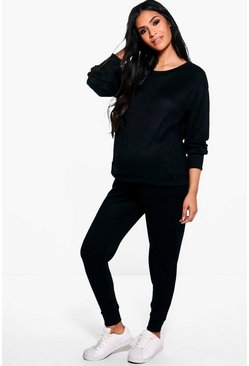 Womens Black Maternity  Lounge Sweat & Jogger Set