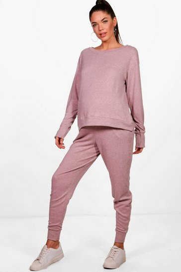 Womens Blush Maternity  Lounge Sweat & Jogger Set