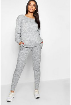 Womens Grey marl Maternity  Lounge Sweat & Jogger Set