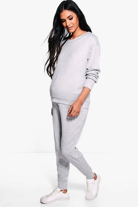 Womens Grey Maternity  Lounge Sweat & Jogger Set