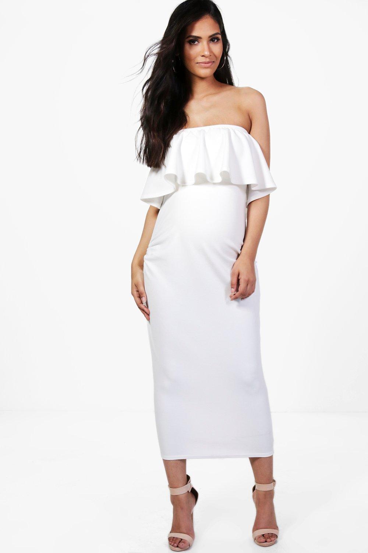 0e384568371 Maternity Beatrice Bandeau Ruffle Midi Dress. Hover to zoom