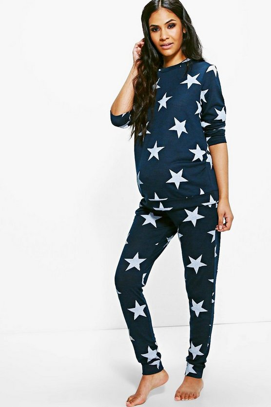 Womens Navy Maternity  Star Printed Knitted Lounge Set