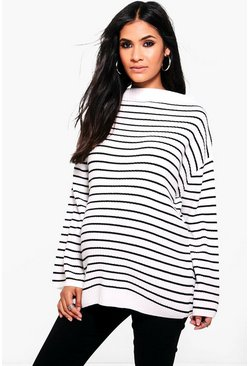 Womens Multi Maternity Striped Soft Rib Jumper