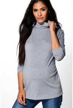 Womens Grey Maternity  High Neck Long Sleeve Top