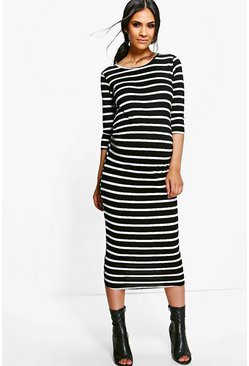 Womens Black Maternity  Striped Long Sleeve Midi Dress