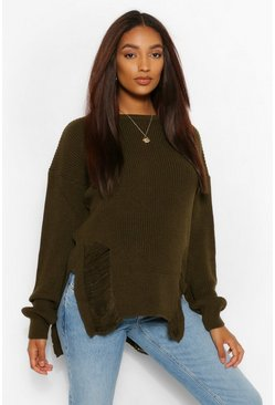 Womens Khaki Maternity Distressed Side Split Jumper