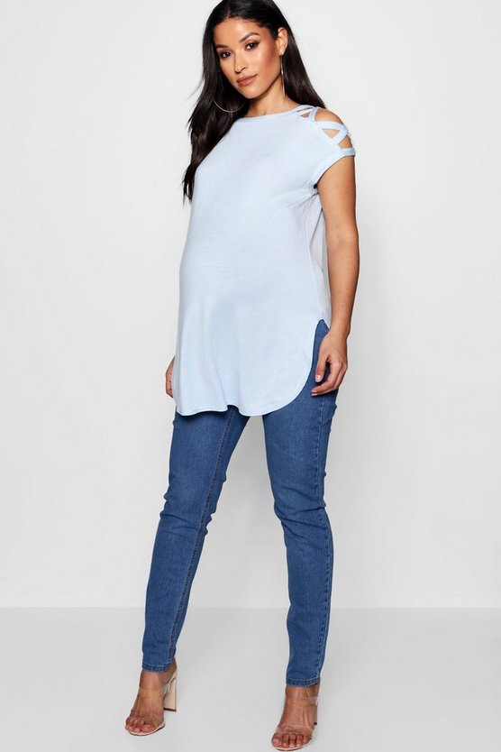 Maternity Strappy Detail Shoulder T-Shirt