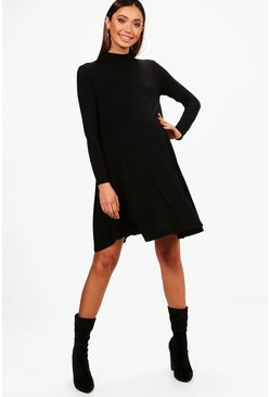 Womens Black Maternity  High Neck Long Sleeve Swing Dress