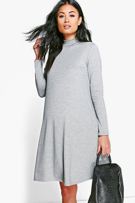 Womens Grey Maternity  High Neck Long Sleeve Swing Dress