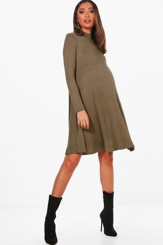 Womens Khaki Maternity  High Neck Long Sleeve Swing Dress