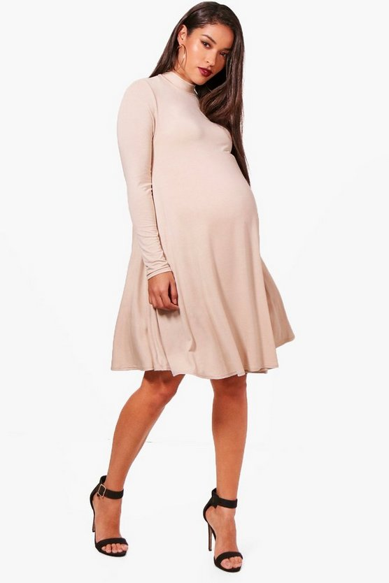 Maternity  High Neck Long Sleeve Swing Dress
