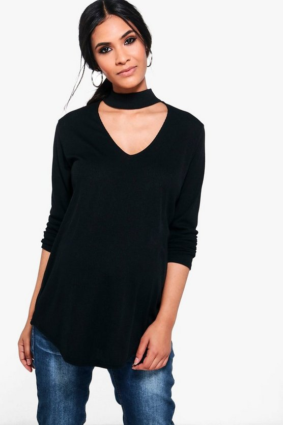 Maternity Claire Choker Ribbed Top