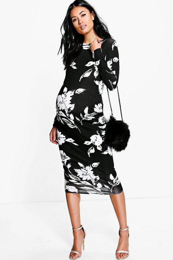 Womens Black Maternity  Mono Print Long Sleeve Midi Dress