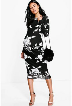 Black Maternity  Mono Print Long Sleeve Midi Dress
