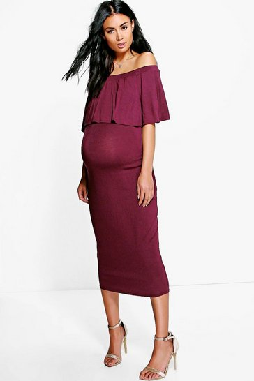 Berry Maternity Off The Shoulder Midi Dress