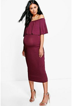 Womens Berry Maternity Off The Shoulder Midi Dress